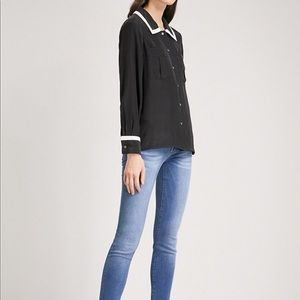 Frame denim Double Pocket silk-crepe shirt